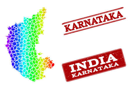 Spectrum dotted map of Karnataka State and red grunge stamps. Vector geographic map in bright spectrum gradient colors on a white background. Illustration