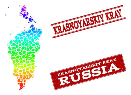 Spectrum dotted map of Krasnoyarskiy Kray and red grunge stamps. Vector geographic map in bright spectrum gradient colors on a white background.