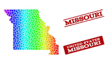 Spectrum dotted map of Missouri State and red grunge stamps. Vector geographic map in bright spectrum gradient colors on a white background.