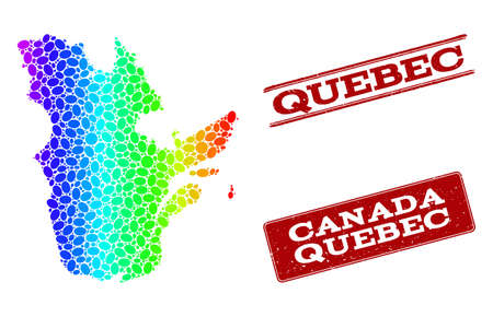 Spectrum dotted map of Quebec Province and red grunge stamps. Vector geographic map in bright spectrum gradient colors on a white background. Illustration