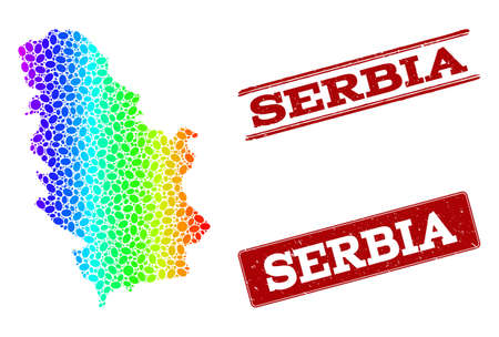 Spectrum dotted map of Serbia and red grunge stamps. Vector geographic map in bright spectrum gradient colors on a white background.