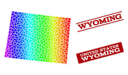 Spectrum dotted map of Wyoming State and red grunge stamps. Vector geographic map in bright spectrum gradient colors on a white background.