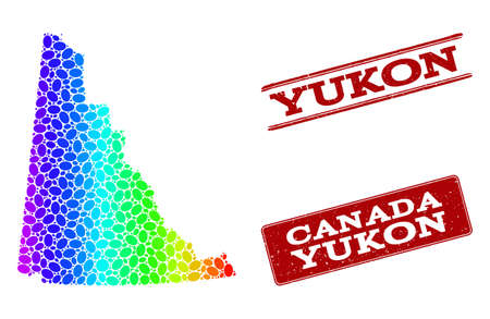 Spectrum dotted map of Yukon Province and red grunge stamps. Vector geographic map in bright spectrum gradient colors on a white background. Illustration