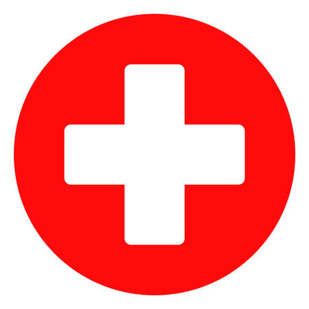 Medical cross vector icon symbol. Flat pictogram is isolated on a white background. Medical cross pictogram designed with simple style. Vektoros illusztráció