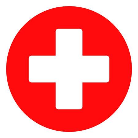 Simbolo dell'icona di vettore croce medica. Il pittogramma piatto è isolato su uno sfondo bianco. Pittogramma croce medica progettato con uno stile semplice. Vettoriali