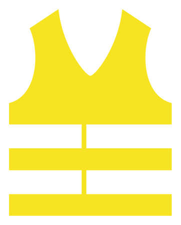 Safety vest vector icon symbol. Flat pictogram is isolated on a white background. Safety vest pictogram designed with simple style.