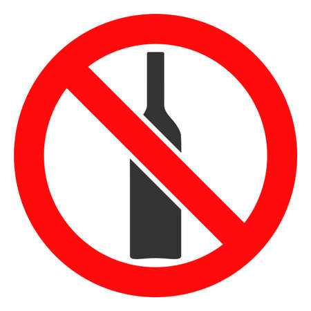 Forbidden alcohol vector icon symbol. Flat pictogram is isolated on a white background. Forbidden alcohol pictogram designed with simple style.