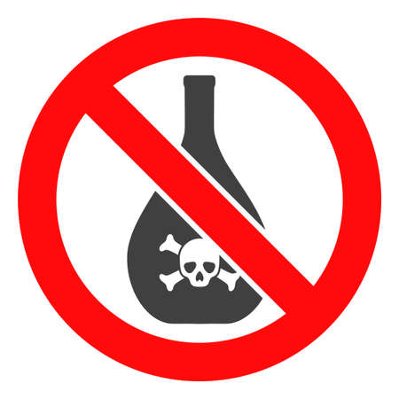Forbidden chemicals vector icon symbol. Flat pictogram is isolated on a white background. Forbidden chemicals pictogram designed with simple style.