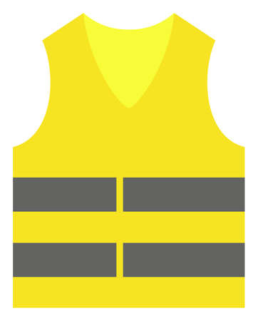 Yellow vest vector icon symbol. Flat pictogram is isolated on a white background. Yellow vest pictogram designed with simple style. Banco de Imagens - 114609415