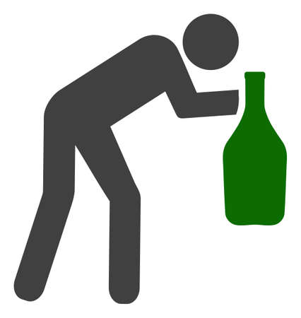 Drunky man vector icon symbol. Flat pictogram is isolated on a white background. Drunky man pictogram designed with simple style.