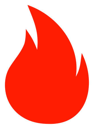 Fire vector icon symbol. Flat pictogram is isolated on a white background. Fire pictogram designed with simple style.