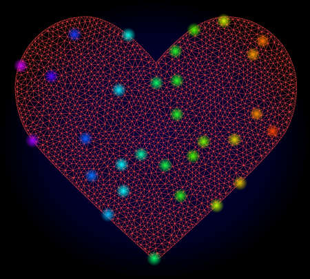 Glossy polygonal red mesh love heart icon with glow effect on a dark background. Carcass love heart iconic vector with glowing colorful dots in spectrum colors. Abstract red mesh lines,