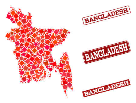 Geographic collage of dot mosaic map of Bangladesh and red rectangle grunge seal stamp imprints. Vector map of Bangladesh created with red square elements. Flat design for geographic posters.