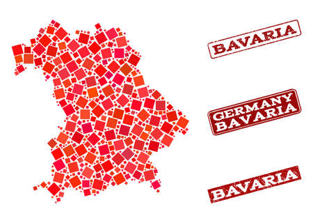 Geographic composition of dot mosaic map of Bavaria State and red rectangle grunge stamp watermarks. Vector map of Bavaria State created with red square mosaic items. Illustration