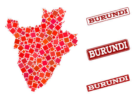 Geographic combination of dot mosaic map of Burundi and red rectangle grunge seal stamp watermarks. Vector map of Burundi formed with red square elements. Flat design for geographic posters.