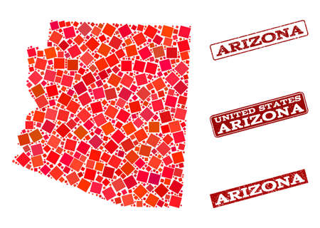 Geographic combination of dot mosaic map of Arizona State and red rectangle grunge stamp watermarks. Vector map of Arizona State composed with red square mosaic items.