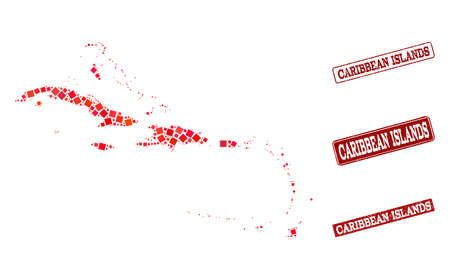 Geographic composition of dot mosaic map of Caribbean Islands and red rectangle grunge stamp watermarks. Vector map of Caribbean Islands formed with red square dots. Ilustração