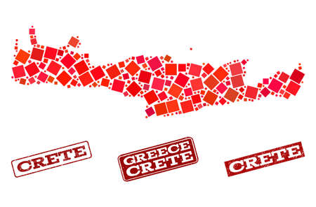Geographic combination of dot mosaic map of Crete Island and red rectangle grunge seal stamp imprints. Vector map of Crete Island created with red square mosaic items. 向量圖像