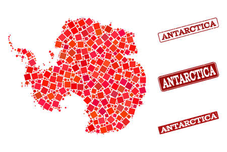 Geographic collage of dot mosaic map of Antarctica and red rectangle grunge seal imprints. Vector map of Antarctica composed with red square mosaic items. Flat design for political posters.