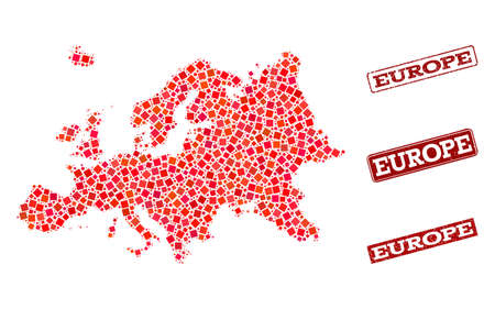 Geographic collage of dot mosaic map of Europe and red rectangle grunge seal watermarks. Vector map of Europe formed with red square mosaic items. Flat design for geographic purposes.
