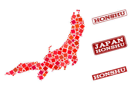 Geographic composition of dot mosaic map of Honshu Island and red rectangle grunge stamp watermarks. Vector map of Honshu Island created with red square mosaic items.