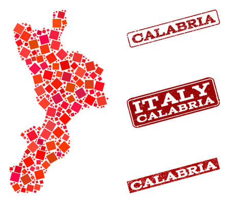 Geographic collage of dot mosaic map of Calabria region and red rectangle grunge seal stamp imprints. Vector map of Calabria region designed with red square mosaic items.