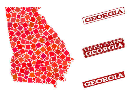 Geographic combination of dot mosaic map of Georgia State and red rectangle grunge seal stamp watermarks. Vector map of Georgia State formed with red square mosaic items. Ilustração