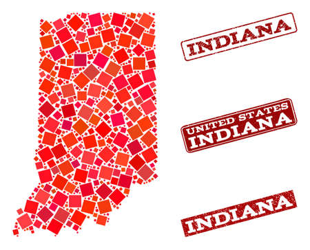 Geographic composition of dot mosaic map of Indiana State and red rectangle grunge stamp imprints. Vector map of Indiana State created with red square mosaic items. Illustration