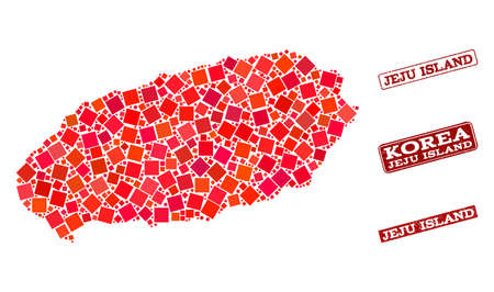 Geographic combination of dot mosaic map of Jeju Island and red rectangle grunge seal watermarks. Vector map of Jeju Island created with red square mosaic items. Flat design for cartographic posters.
