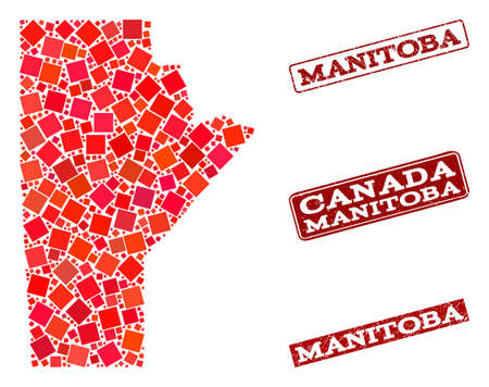 Geographic collage of dot mosaic map of Manitoba Province and red rectangle grunge stamp imprints. Vector map of Manitoba Province designed with red square mosaic items.