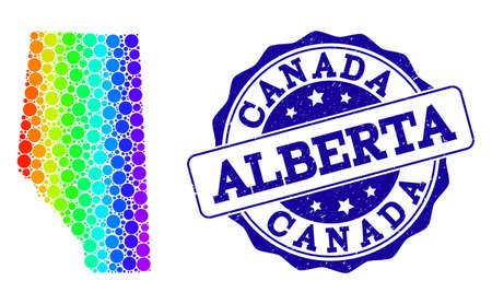 Dotted rainbow map of Alberta Province and blue grunge round stamp seal. Vector geographic map in bright rainbow gradient colors on a white background. 일러스트