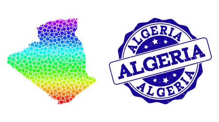Dot rainbow map of Algeria and blue grunge round stamp seal. Vector geographic map in bright rainbow gradient colors on a white background.