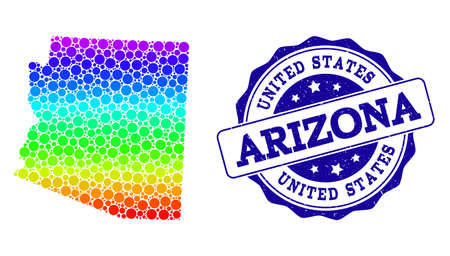 Dot spectrum map of Arizona State and blue grunge round stamp seal. Vector geographic map in bright spectrum gradient colors on a white background.