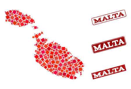 Geographic combination of dot mosaic map of Malta and red rectangle grunge seal watermarks. Vector map of Malta designed with red square mosaic items. Flat design for geographic posters.