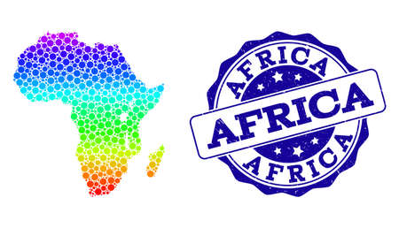 Dotted spectrum map of Africa and blue grunge round stamp seal. Vector geographic map in bright spectrum gradient colors on a white background.