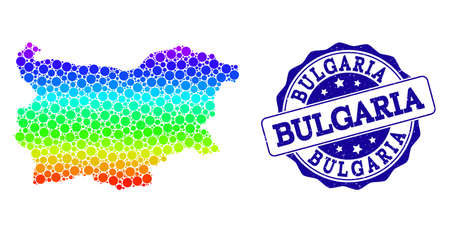 Dot spectrum map of Bulgaria and blue grunge round stamp seal. Vector geographic map in bright spectrum gradient colors on a white background.