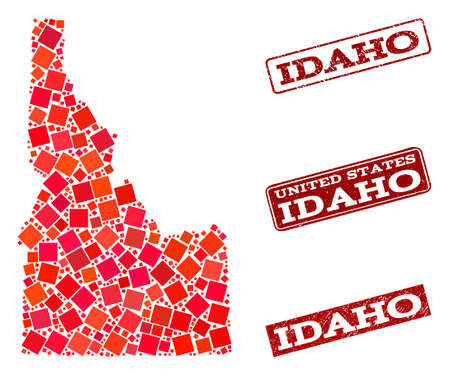 Geographic combination of dot mosaic map of Idaho State and red rectangle grunge seal imprints. Vector map of Idaho State created with red square mosaic items. Flat design for geographic purposes.
