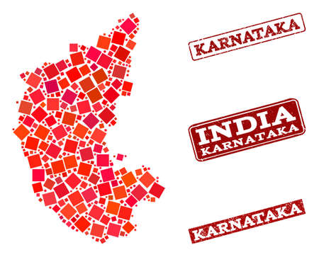 Geographic composition of dot mosaic map of Karnataka State and red rectangle grunge stamp imprints. Vector map of Karnataka State formed with red square mosaic items. Illustration