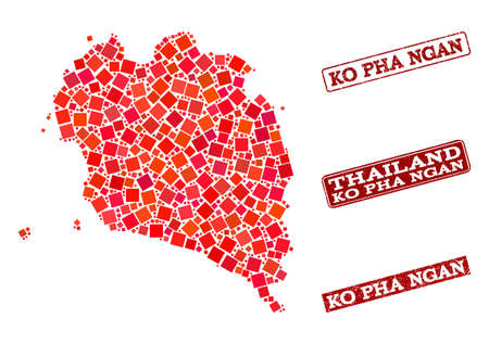 Geographic composition of dot mosaic map of Ko Pha Ngan and red rectangle grunge stamp imprints. Vector map of Ko Pha Ngan designed with red square dots. Flat design for geographic posters.
