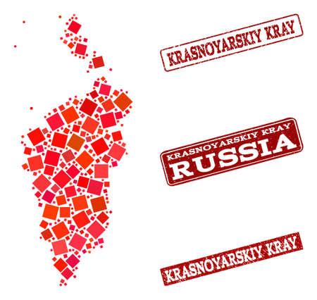 Geographic collage of dot mosaic map of Krasnoyarskiy Kray and red rectangle grunge stamp watermarks. Vector map of Krasnoyarskiy Kray composed with red square elements. Illustration