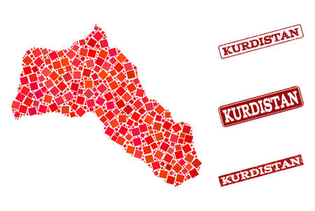 Geographic composition of dot mosaic map of Kurdistan and red rectangle grunge seal stamp watermarks. Vector map of Kurdistan created with red square mosaic items. Flat design for geographic purposes.