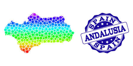 Dotted spectrum map of Andalusia Province and blue grunge round stamp seal. Vector geographic map in bright spectrum gradient colors on a white background.