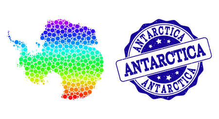 Dotted spectrum map of Antarctica and blue grunge round stamp seal. Vector geographic map in bright spectrum gradient colors on a white background.