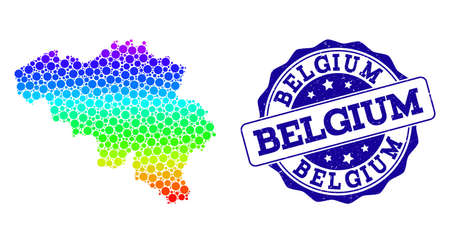 Dotted rainbow map of Belgium and blue grunge round stamp seal. Vector geographic map in bright rainbow gradient colors on a white background.