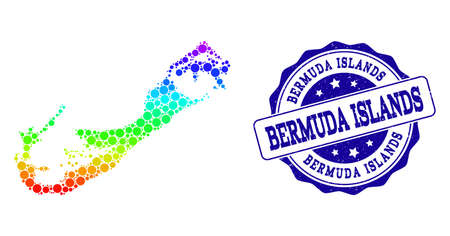 Dot rainbow map of Bermuda Islands and blue grunge round stamp seal. Vector geographic map in bright rainbow gradient colors on a white background.