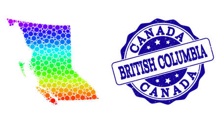 Dotted rainbow map of British Columbia Province and blue grunge round stamp seal. Vector geographic map in bright rainbow gradient colors on a white background.