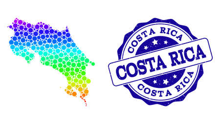 Dot spectrum map of Costa Rica and blue grunge round stamp seal. Vector geographic map in bright spectrum gradient colors on a white background.