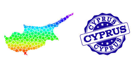 Dot rainbow map of Cyprus Island and blue grunge round stamp seal. Vector geographic map in bright rainbow gradient colors on a white background.