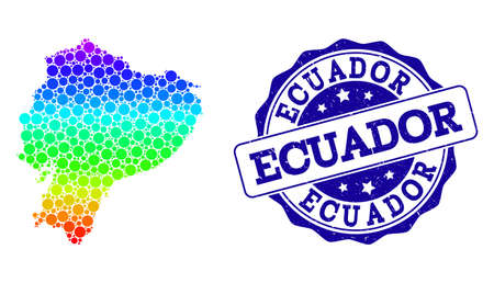 Dotted spectrum map of Ecuador and blue grunge round stamp seal. Vector geographic map in bright spectrum gradient colors on a white background.