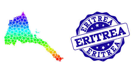 Dot rainbow map of Eritrea and blue grunge round stamp seal. Vector geographic map in bright rainbow gradient colors on a white background.